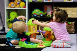 Babies playing at child care