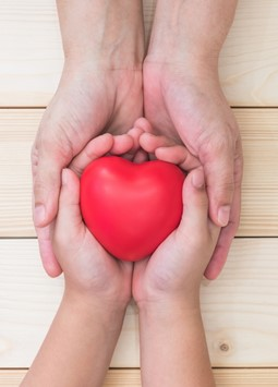 Adult and child hands holding a red heart