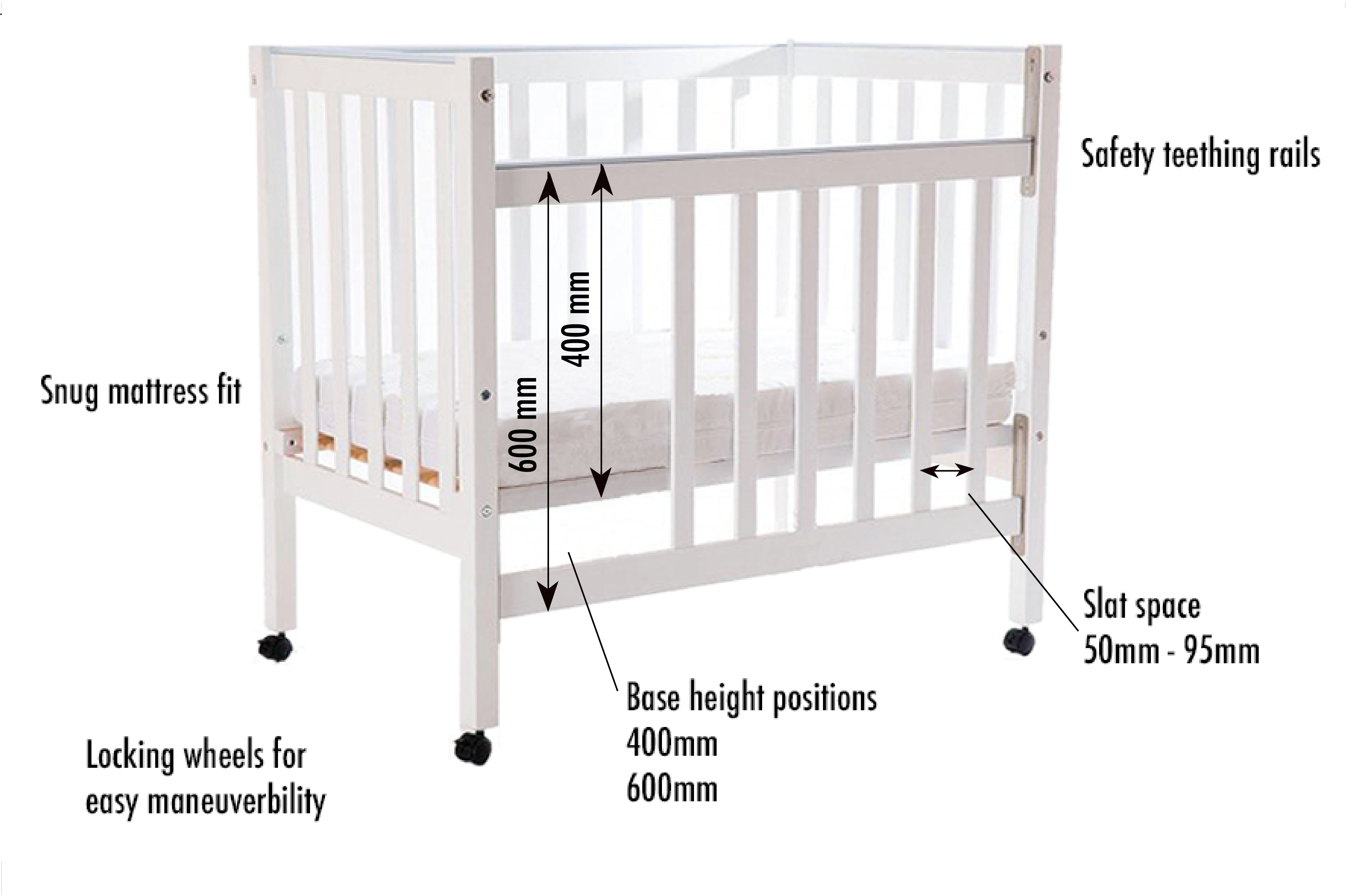 Image of cot highlighting safety features, dimensions and usability. Description contained in the text below.