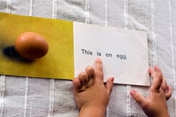 Fingers of a toddler as he's pointing on a page of a book that has a picture of an egg